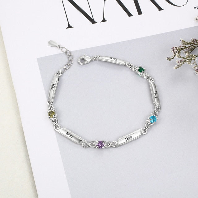 Personalized 925 Sterling Silver Custom Name Bracelet with Rhinestone