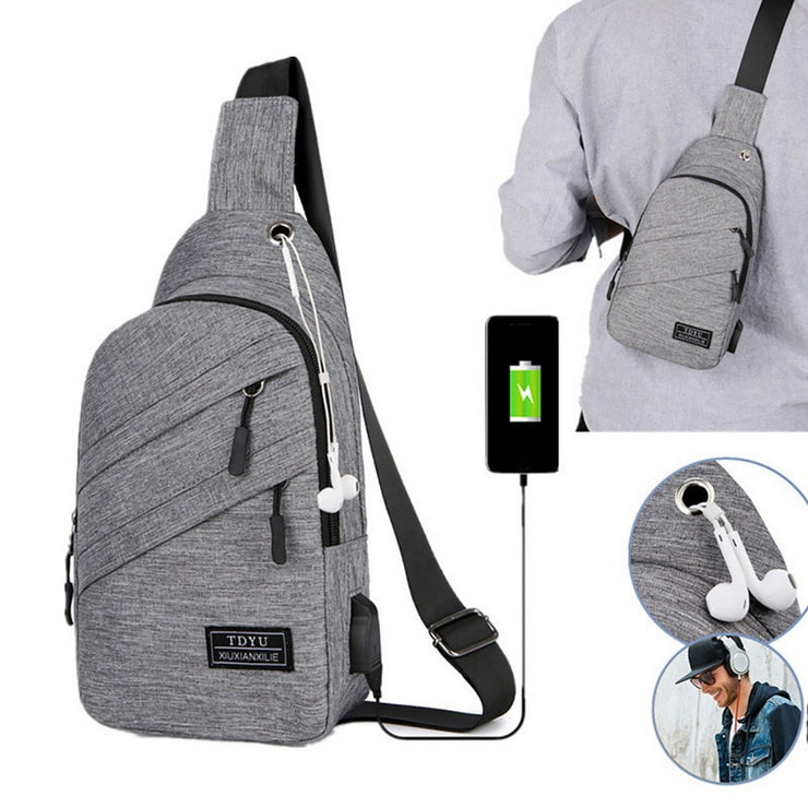 USB Charging Oxford Crossbody Bag Men