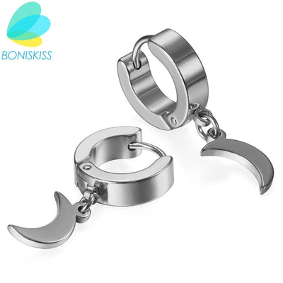 Boniskiss New Unique Fashion Rock Moon Charm Men Earrings Gold/Black/Silver Color Small Circle Hoop Earrings For Women Jewelry