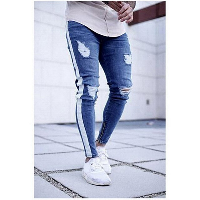 New Fashion Streetwear Mens Jeans Ripped Design