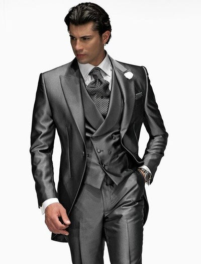 One Button shiny Gray Groom Tuxedos Men Wedding Suit (Jacket+Pants+Vest+Tie)