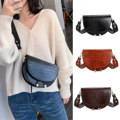#H40 Women Crossbody Bag Fashion Alligator Semicircle Saddle Bags Crocodile Shoulder Bags for female Handbags designer bolsas