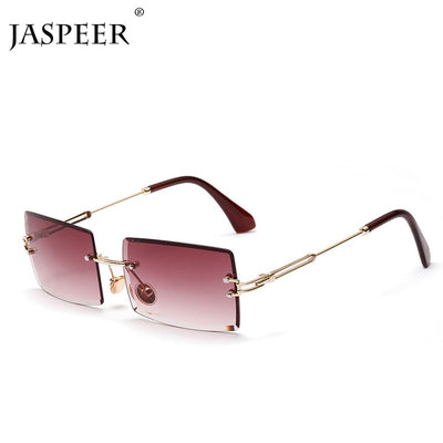 JASPEER Rectangle Rimless Sunglasses Women Men Metal Frame Sun Glasses Shades Vintage Mirror Lens Eyeglasses Oculos UV400