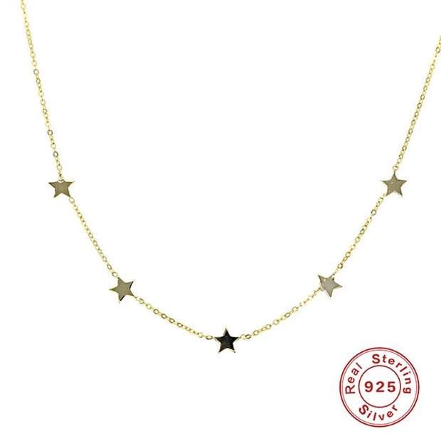 Sterling Silver Star Charms Chokers Necklaces for Women