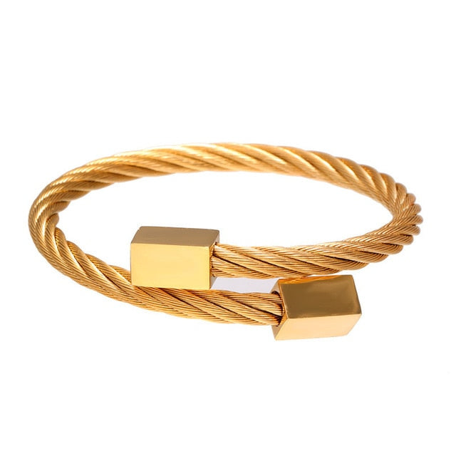 Classic Men Bracelet Charm Jewelry Fashion Luxury Gold plated Stainless Steel Cube Handmade Bracelets Male Homme