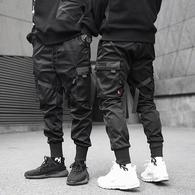 Men Ribbons Color Block Black Pocket Cargo Pants Harem Joggers Harajuku Sweatpant Hip Hop Trousers