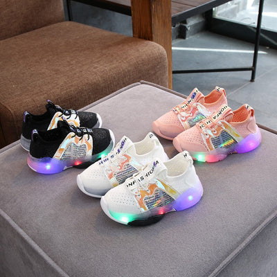 Fashion Bling Led Light Luminous Night Wear Outdoor Children sneakers Kids Shoes Reflective Sheet Metal Decoration G3