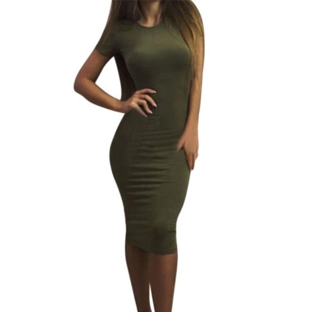 Womens Dress Vestido Short Sleeve Slim Bodycon Dress