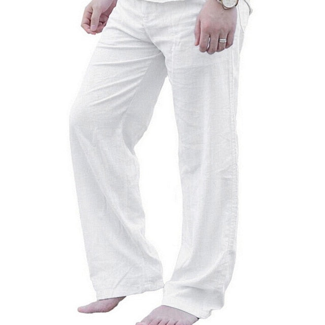 Men's Linen Casual Elastic Waist Trousers