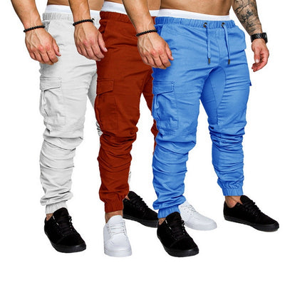 Men Pants Hip Hop Joggers Fashion Trouser Casual Pockets