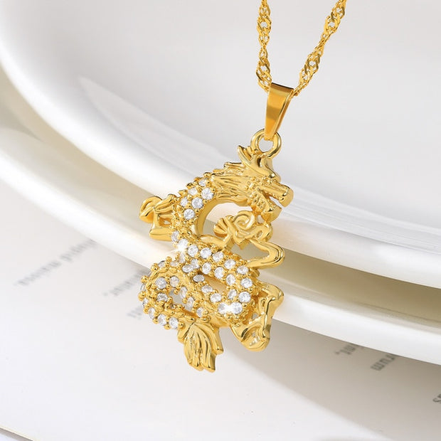 2020 Anniyo CZ Dragon Pendant Necklaces for Women Men Gold Color Jewellery Cubic Zirconia Mascot Ornaments Lucky Symbol Gifts