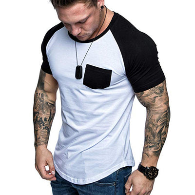 Fashion Men's T-shirt Tee Summer Slim Fit Patchwork Pocket Short Sleeved T-shirt Top Blouse Men Clothes camiseta Masculina 2020