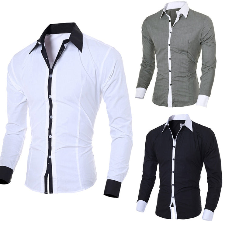 Men Casual Shirts 2019 Autumn New Fashion Solid Color Man Long Sleeve Cotton Slim Fit Casual Business Button Shirt Tops #G2