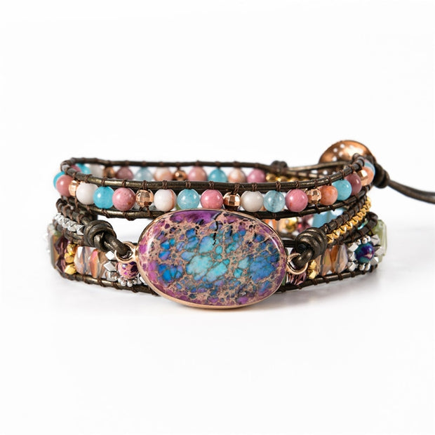 Leather Wrap Bracelet W/  Multi Color Natural Beads