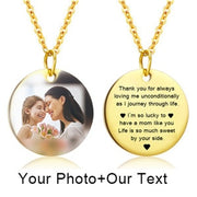 Mothers Day Heart Shape Round Necklace Personalized Nameplate Custom Name Photo Gold Chain Necklace Women Men Customized Jewelry