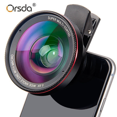 Orsda 4K HD Super 15X Macro Lens for Smartphone Anti-Distortion 0.6X Wide Angle Lens Optical Glass Mobile Phone Camera Lente Kit