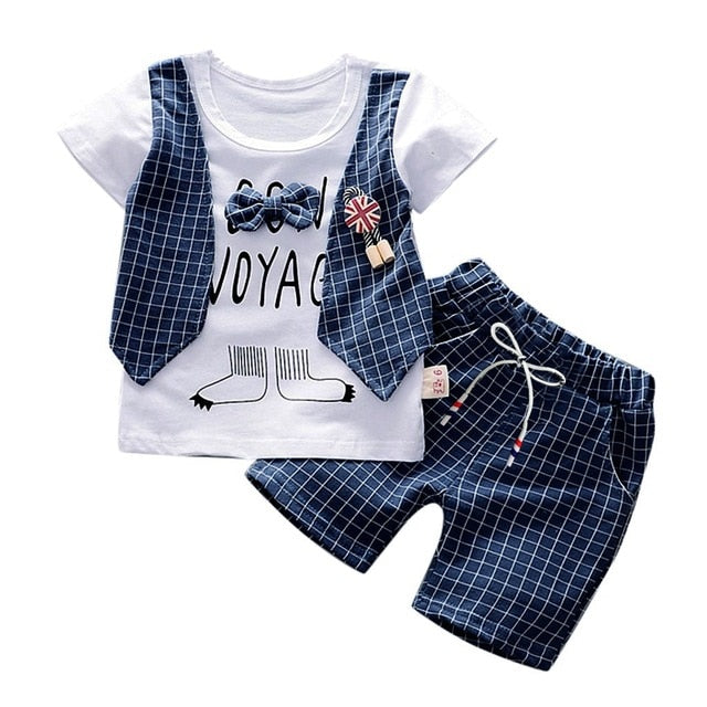 Toddler Baby Boys Clothing Gentleman Bow T-shirt Tops Shorts Pants Outfits Clothes Kids Casual Summer Set roupa infantil menino