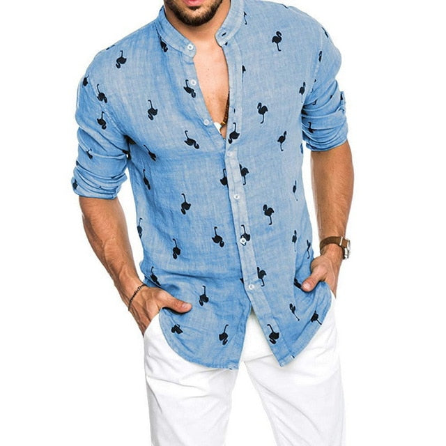 Men's Hawaiian Shirts Flamingo Pattern Long Sleeve Stand Collar Men Shirt Loose Men's Breathable Shirt Camisas Masculinas M-3XL