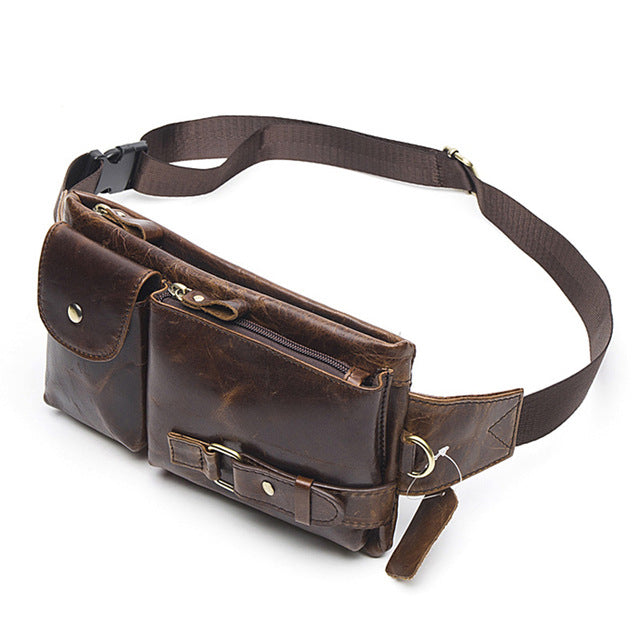 Genuine Leather Waist Packs Men