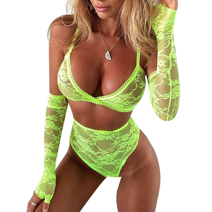 Green Mesh Lace Bra And Panty Set Women V-Neck