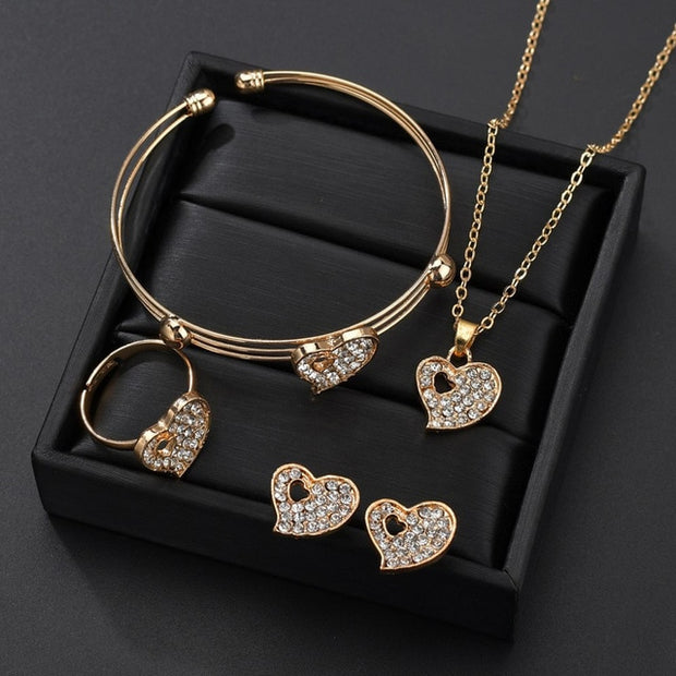 5 Pieces / Set Heart Gold Color Jewelry Set