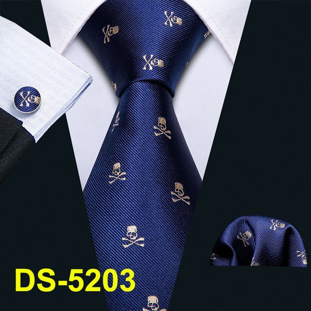 "Men Tie Gold Navy Striped 100% Silk Tie Barry.Wang 3.4"" Jacquard Party Wedding Woven Fashion Designers Necktie For Men DS-5032"