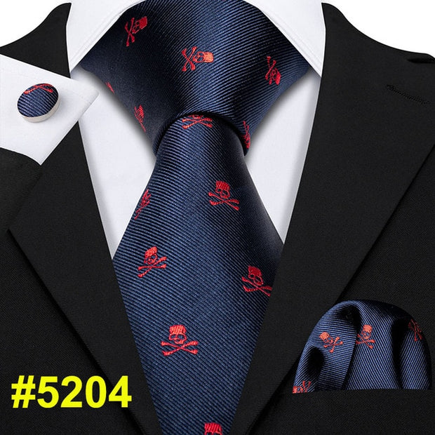 Fashion Designer Red Skull Men Tie Set 8.5cm Silk Handkerchief Ties For Men Gift Wedding Business Barry.Wang Gravata Necktie