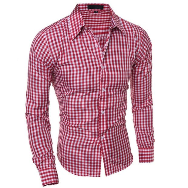 Men's Slim Long Sleeve Plaid Shirt