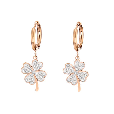 Clear Crystal Four Clover Hoop Earrings Rose Gold Stainless Steel Dangle Earrings For Women Korean pop Jewelry Accessories 2020