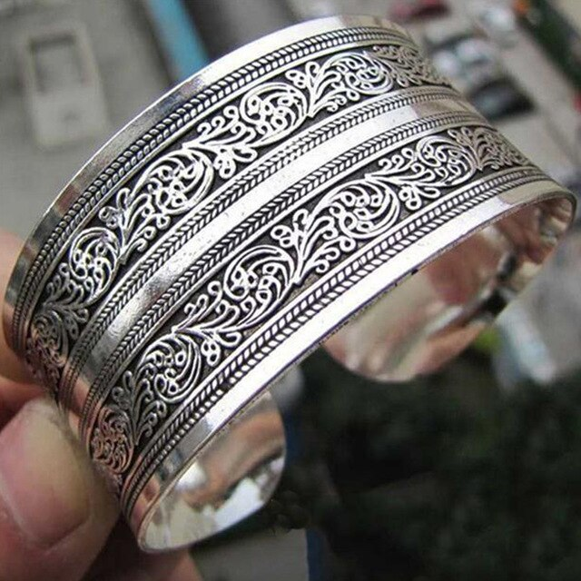 Women European Concave Metal Tibetan Silver Vintage Retro Bangle Totem Cuff Bracelet Valentine's Day Gift For Her Cuff Jewelry