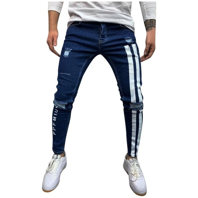 Striped Zipper Denim Pants