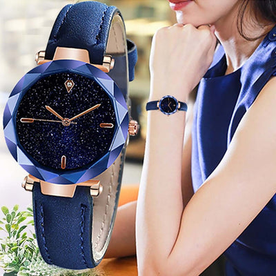 Stylish Luxurious Starry Dial Convex Mirror Leather Strap Watch