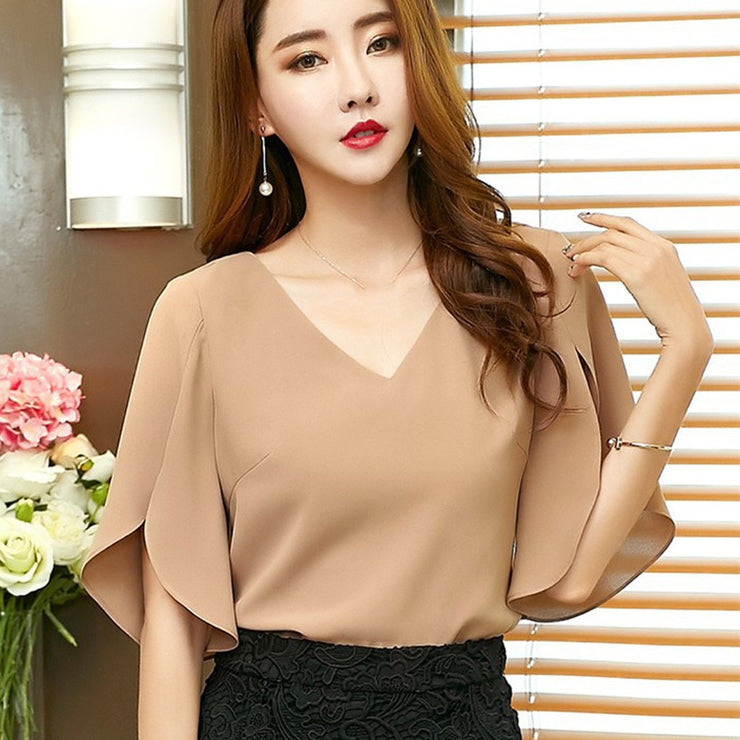 Summer Plus Size Blouse Chiffon Shirt Female Butterfly Sleeve