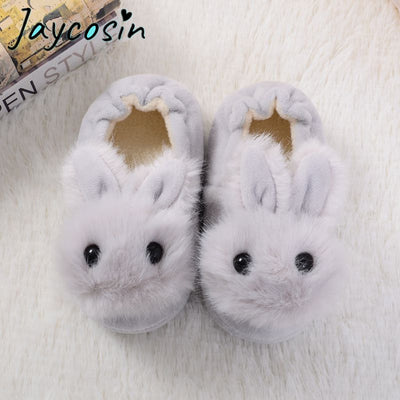 JAYCOSIN Baby Winter Slippers Children Boys Girls Cute Cartoon Rabbit Slipper Kids Indoor Fur Warm Shoes Child Home Floor Shoes