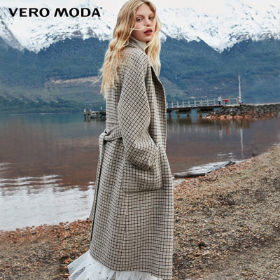 Double-sided 100% wool long plaid woolen overcoat