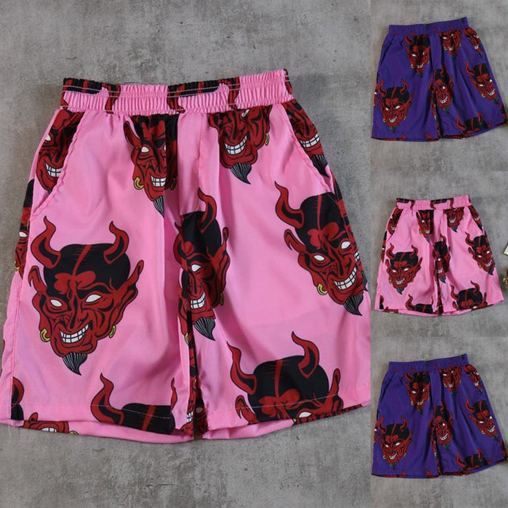 Devil Full Print Elastic Waist Men Shorts