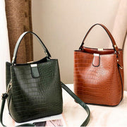 Alligator Bucket Bags Women Crocodile Pattern Handbag Retro Totes Ladies PU Leather Shoulder MessengerBags Green Fashion