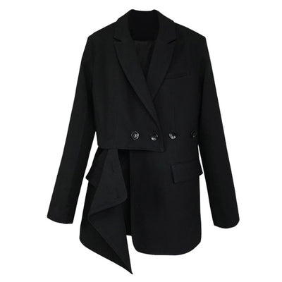 Women Black Irregular Split Long Blazer