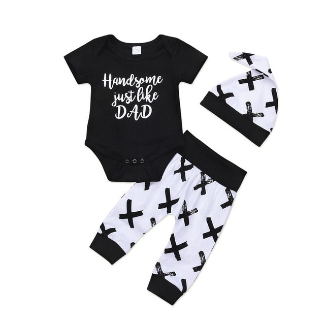 0-24M Toddler Kids Baby Boy 3Pcs Clothes Set Newborn Infant Boys Cotton Tops Romper Pants Leggings Outfits Clothing
