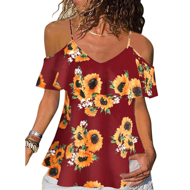 Floral Printed Women Blouses And Tops Summer Ruffle