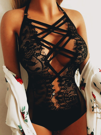Lingerie Lace Bodysuit One Piece Catsuit Leotard Sleepwear