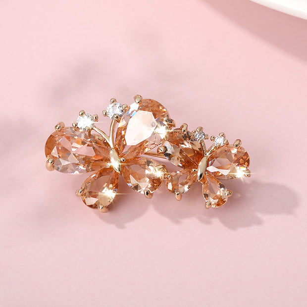 Pink Rhinestone Butterfly Brooches for Women