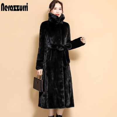 High Quality Long Fluffy Faux Fur Coat