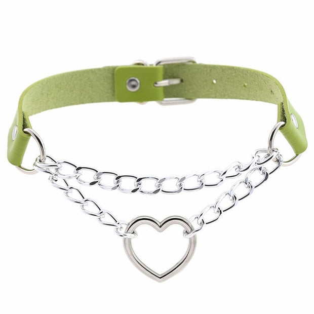 women hiphop cute cosplay Maid Collar Punk Gothic Leather Choker Metal Chain Harajuku Adjustable Heart Necklace Fashion Jewelry