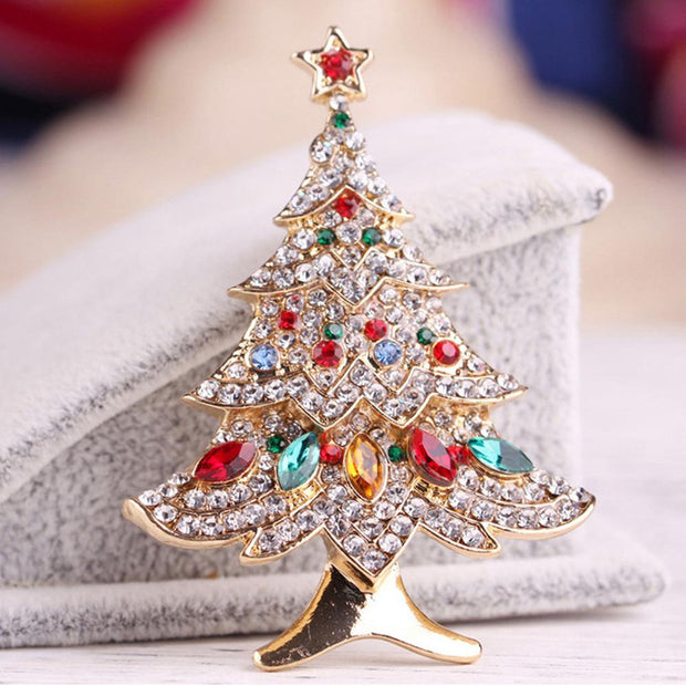 Crystal Christmas Tree Brooches