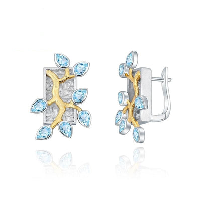 Forest Natural Swiss Blue Topaz Woman Statement Earrings