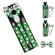 Adjustable Printed Suspenders With Bowtie