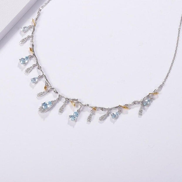 Silver Handmade Flower Bud Gemstone Necklace Sky Blue Topaz
