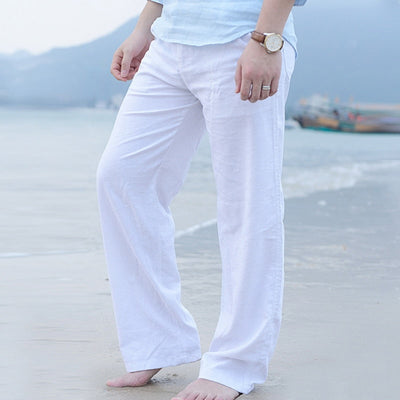 Men Summer Casual Pants Cotton Linen