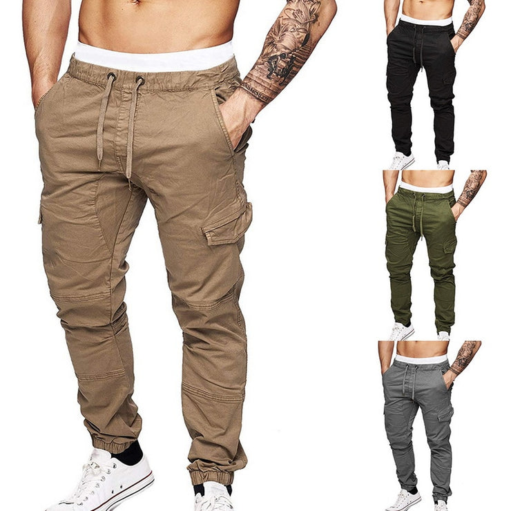 Mens Casual Solid Multi-pocket Trousers